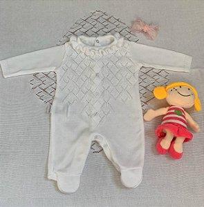 Saída Maternidade Macacão e Manta em Tricô Branco