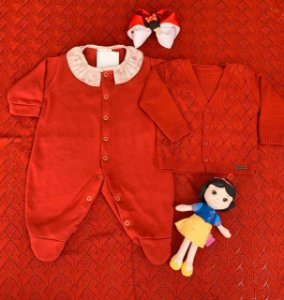 Saída Maternidade Macacão, Casaco e Manta - Babadinho Vermelho