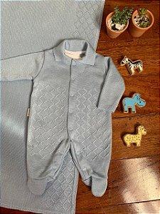 Saída Maternidade Macacão e Manta em Tricô Azul
