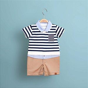Macacão Curto Camisa Arrumadinho