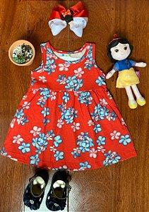 Vestido Joaninha e Flores Vermelho