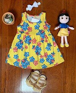 Vestido Joaninha e Flores Amarelo