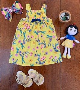 Vestido Flores e Lacinho Amarelo