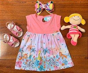 Vestido Selva Divertida e Brilhante Rosa