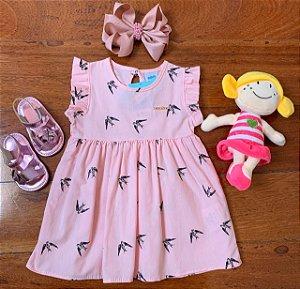 Vestido Pássaros Rosa