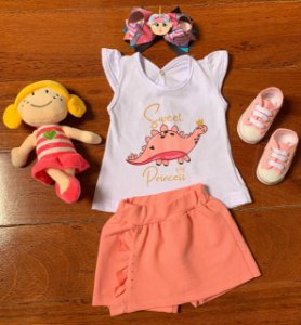 Conjunto Regata e Saia Shorts Sweet Dino Princess