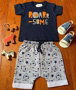 Conjunto Camiseta e Bermuda Leão Roar