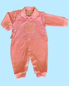 Macacão Longo em Plush Corações Rosa