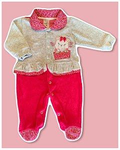 Macacão Longo em Plush Pink Ursinha Brilhante
