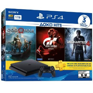 Bundle Playstation 4 Slim 1TB + Jogo God of War 4, Gran Turismo Sport e Uncharted 4 + 3 meses PS Plus