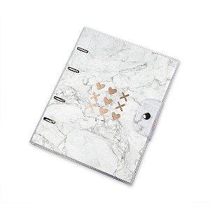 Caderno Argolado Pink Stone Mármore PVC Ultra