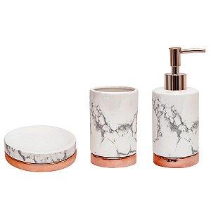 Kit Para Banheiro Mármore Branco e Rose Gold