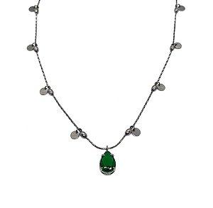 Choker Medalhas com Gota Verde Esmeralda