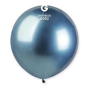 """Balão de Festa Látex 19"""" 48cm - Shine Azul - 01 Unidade - Gemar - Rizzo Embalagens"""