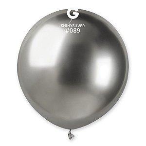 """Balão de Festa Látex 19"""" 48cm - Shine Prata - 01 Unidade - Gemar - Rizzo Embalagens"""