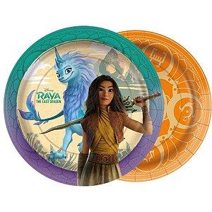 Prato de Papel Redondo Festa Raya e o Último Dragão - 18cm - 12 unidades - Regina - Rizzo Embalagens