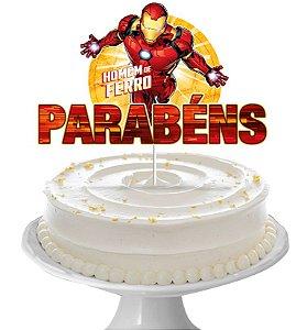 Decoração de Bolo Parabéns Festa Homem de Ferro - 01 unidade - Regina - Rizzo