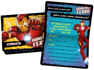 Convite de Aniversário Festa Homem de Ferro - 12 unidades - Regina - Rizzo