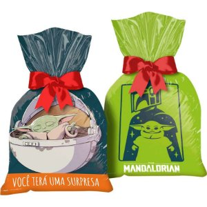 Sacola Plástica para Lembrança Festa Star Wars Mandalorian - 12 unidades - Regina - Rizzo Embalagens