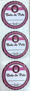 Etiqueta Adesiva Bolo de Pote Rosa com 60 un. Rizzo