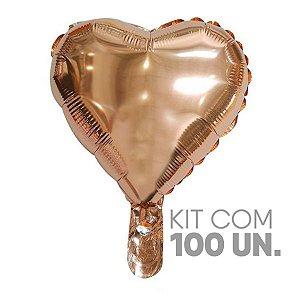 """Balão de Festa Microfoil Coração Rose Gold - 18"""" 45cm - 100 Unidades - Rizzo Embalagens"""