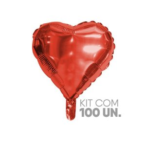 """Balão de Festa Microfoil Coração Vermelho 18"""" - 100 Unidades - Rizzo Embalagens"""