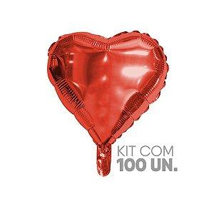 """Balão de Festa Microfoil Coração Vermelho - 9"""" - 100 Unidades - Rizzo Embalagens"""