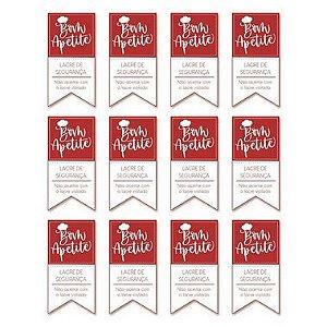Etiqueta Adesiva Lacre de Segurança Bom Apetite Vermelho com 24 un. Cromus Delivery Rizzo