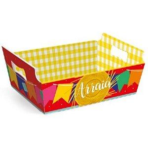 Cesta de Cartão Arraiá Festa Junina - Grande - 01 unidade - Cromus - Rizzo Embalagens