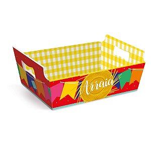 Cesta de Cartão Arraiá Festa Junina - Média - 01 unidade - Cromus - Rizzo Embalagens