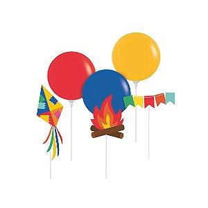 Kit Balão Topo de Bolo Festa Junina - Cromus - Rizzo Embalagens
