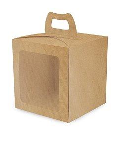 Caixa Mini Bolo com Visor Kraft 19,5X19,5X20,5cm com 10 un. Cromus Rizzo