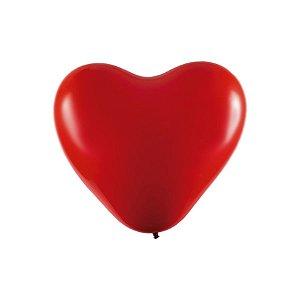 """Balão Coração Látex Cromado 6"""" Vermelho - 25 Unidades - Art-Latex - Rizzo Embalagens"""