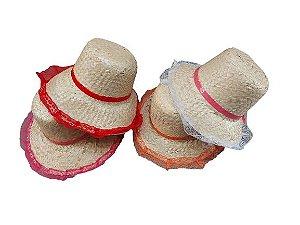 Chapéu de Palha de Renda - Várias Cores - 01 unidade - Rizzo Embalagens