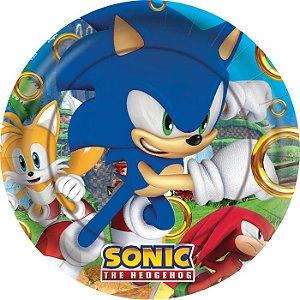 Prato de Papel Redondo Festa Sonic - 12 unidades - Regina - Rizzo