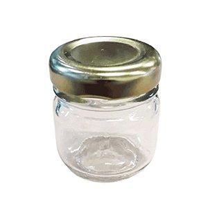 Potinho de Vidro Redondo Tampa de Metal Dourado 30ml - Rizzo Embalagens