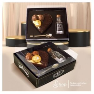 Caixa Coração 200g + Mini Whisky - 1un - Rizzo