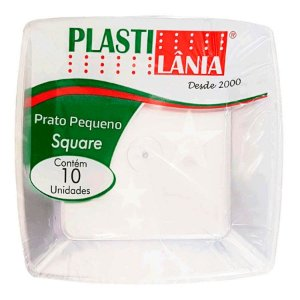 Prato Sobremesa em Acrílico Resistente Square Cristal 15cm - 10 unidades - Plastilânia - Rizzo