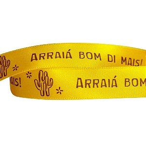 Fita Festa Junina Frases Amarela ECF003D 102 - 15mm - 10 metros - Progresso - Rizzo