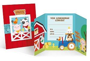 Convite de Aniversário Festa Fazendinha - 08 unidades - Cromus - Rizzo Embalagens