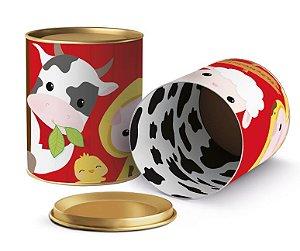Lata para Lembrancinhas Festa Fazendinha  - 11x9cm - 01 unidade - Cromus - Rizzo Embalagens