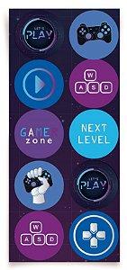 Adesivo Redondo Festa Gamer Level Up - 30 unidades - Cromus - Rizzo Embalagens