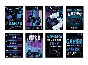 Cartaz Decorativo Festa Gamer Level Up - 08 unidades - Cromus - Rizzo Embalagens