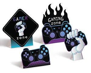 Decorativo de Mesa Festa Gamer Level Up - 04 unidades - Cromus - Rizzo Embalagens