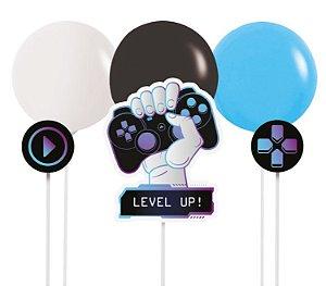 Kit Topo de Bolo com Balão Festa Gamer Level Up - 01 kit - Cromus - Rizzo Embalagens