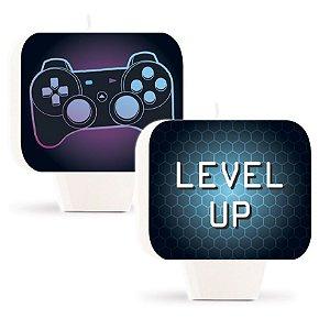 Vela Plana Dupla Face Festa Gamer Level Up - 01 unidade - Cromus - Rizzo Embalagens