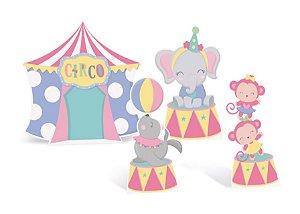Decorativo de Mesa Festa Circo Rosa - 04 unidades - Cromus - Rizzo Embalagens