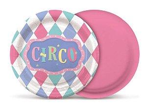 Prato Redondo Festa Circo Rosa - 08 unidades - Cromus - Rizzo Embalagens