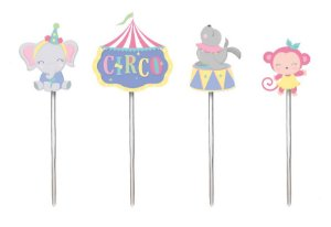 Pick Decorativo Festa Circo Rosa - 12 unidades - Cromus - Rizzo Embalagens