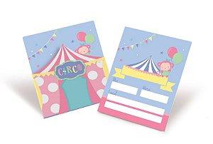 Convite de Aniversário Festa Circo Rosa - 08 unidades - Cromus - Rizzo Embalagens